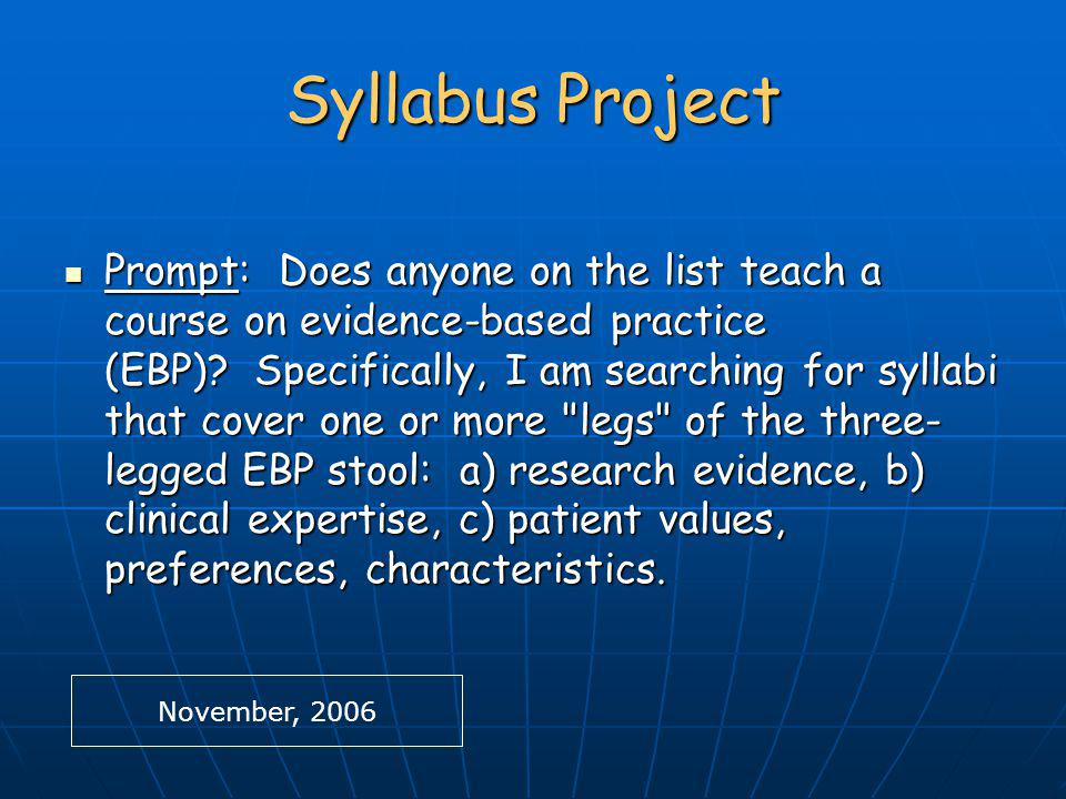 Syllabus Project