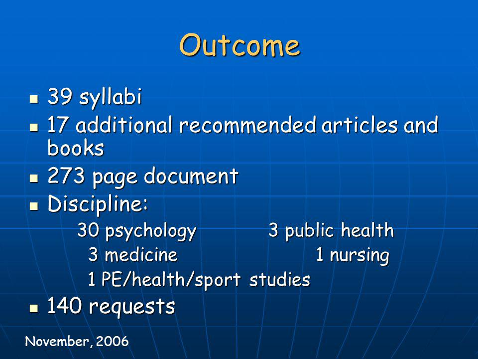 Outcome 39 syllabi 17 additional recommended articles and books