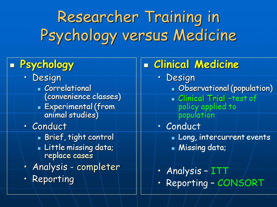 Researcher Training in Psychology versus Medicine