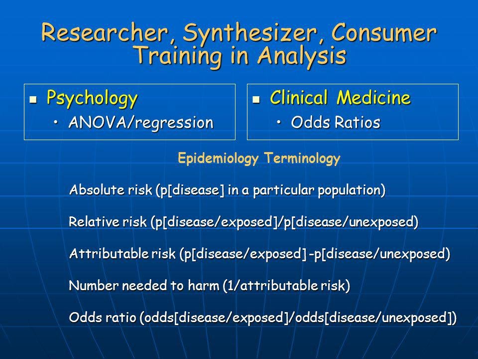 Researcher, Synthesizer, Consumer Training in Analysis