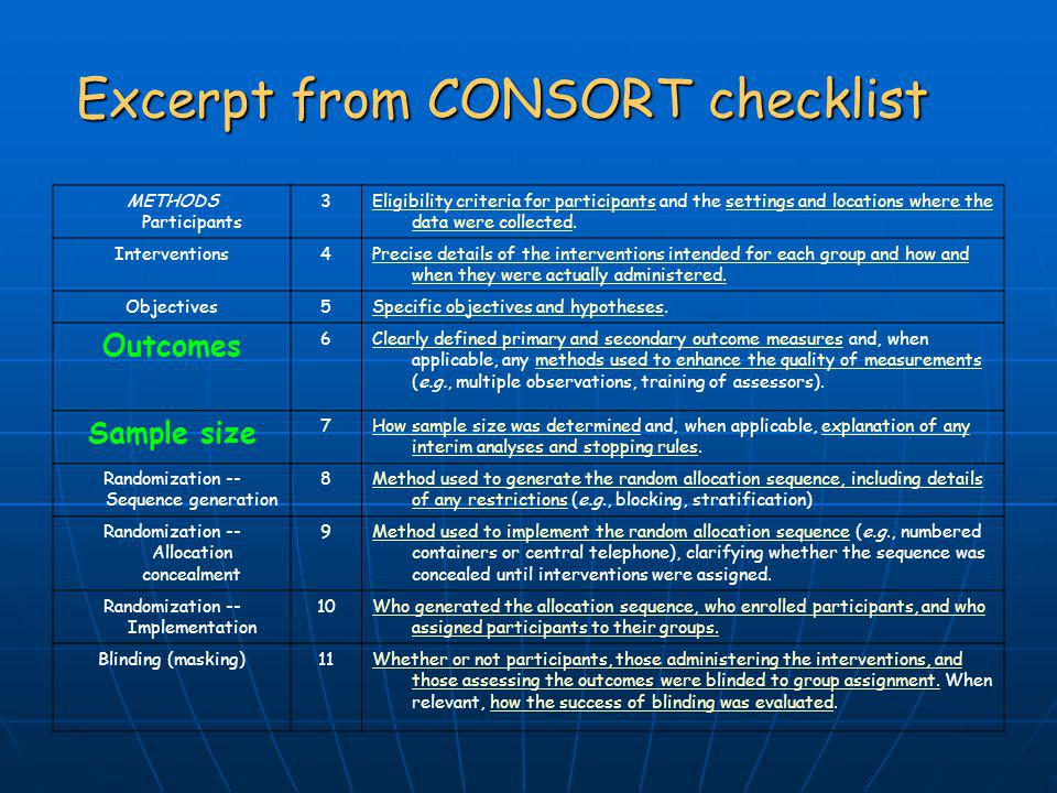 Excerpt from CONSORT checklist