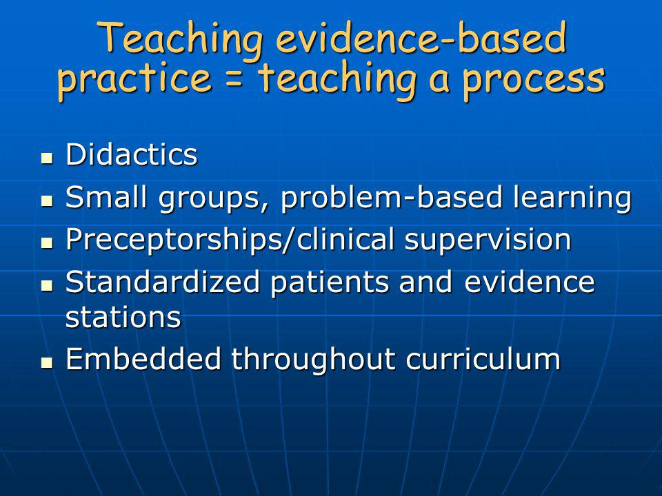 Teaching evidence-based practice = teaching a process