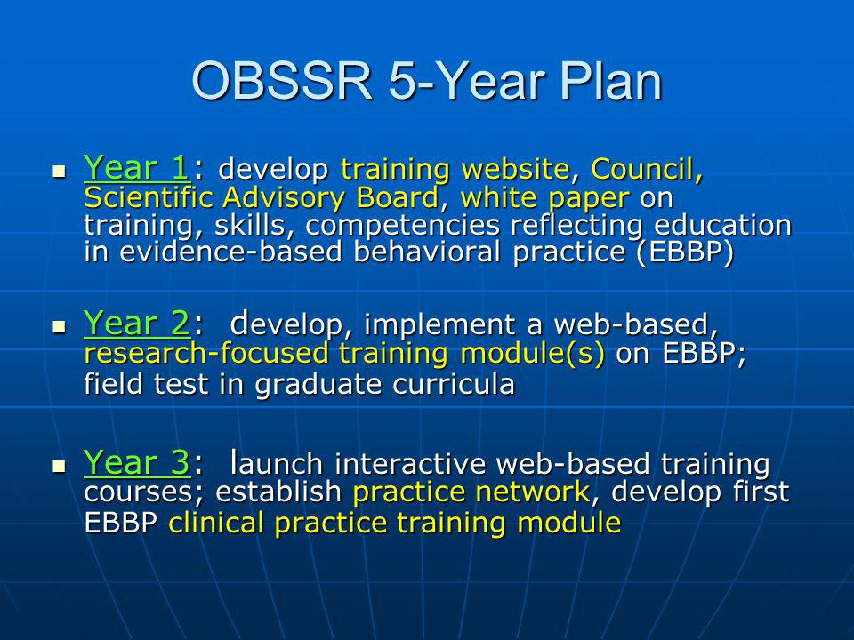 OBSSR 5-Year Plan