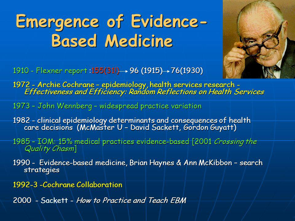 Emergence of Evidence-Based Medicine