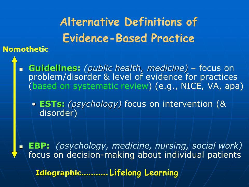 Alternative Definitions of Evidence-Based Practice
