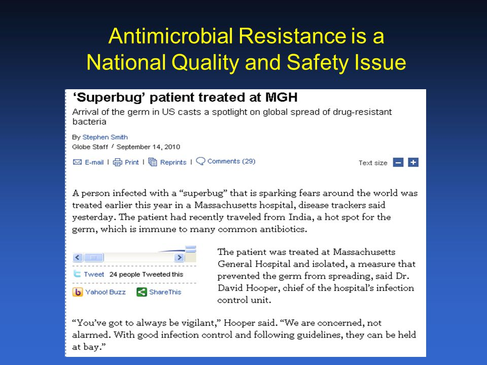 Antimicrobial Resistance is a National Quality and Safety Issue