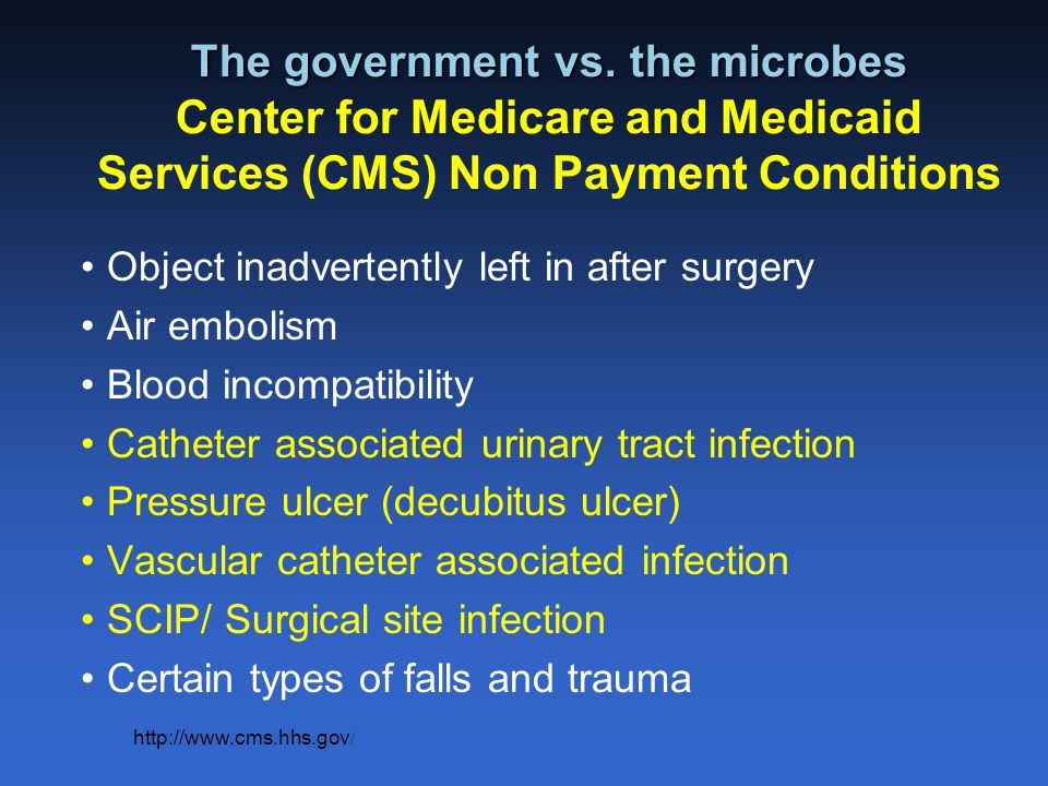 The government vs. the microbes Center for Medicare and Medicaid Services (CMS) Non Payment Conditions