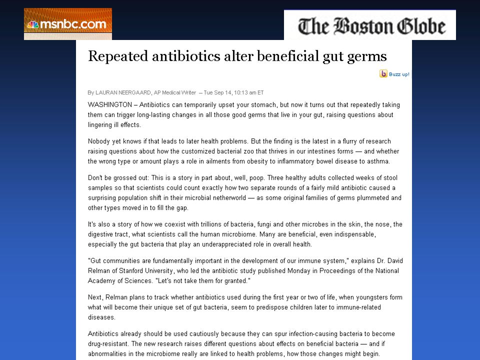 Repeated antibiotics alter beneficial gut germs