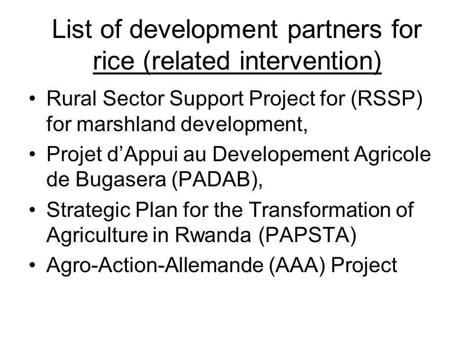 List of development partners for rice (related intervention)