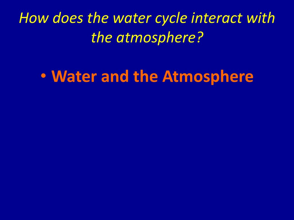 How does the water cycle interact with the atmosphere
