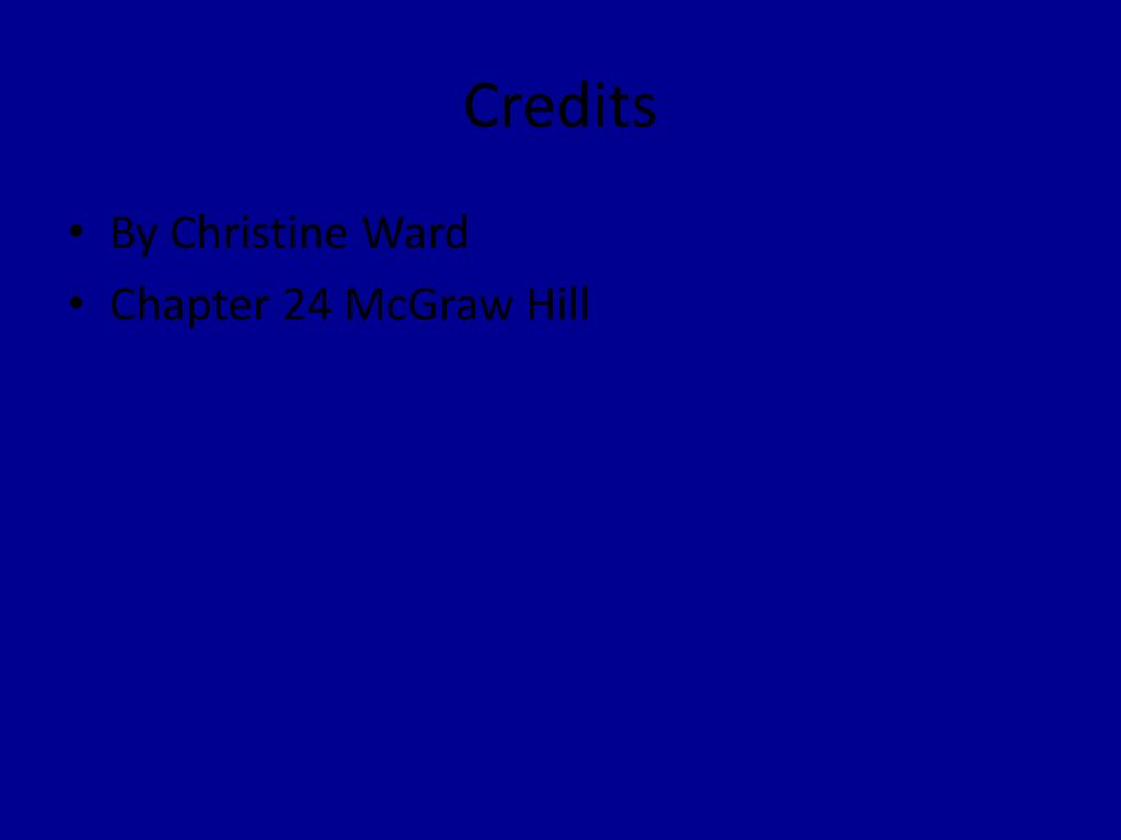 Credits By Christine Ward Chapter 24 McGraw Hill