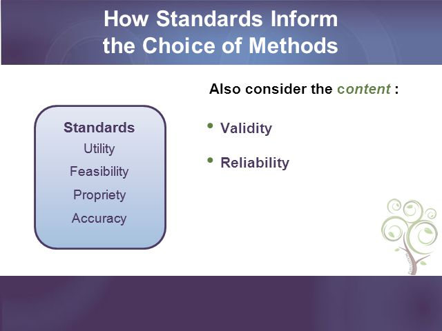 How Standards Inform the Choice of Methods
