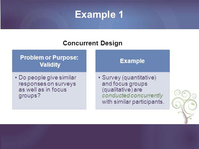 Example 1 Concurrent Design Problem or Purpose: Validity