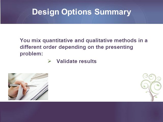 Design Options Summary