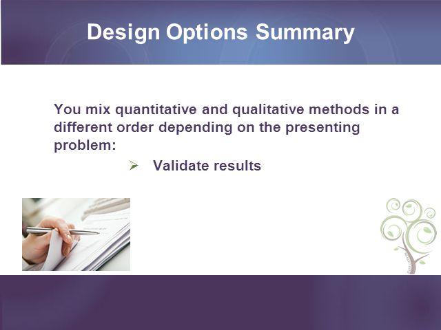 Design Options Summary
