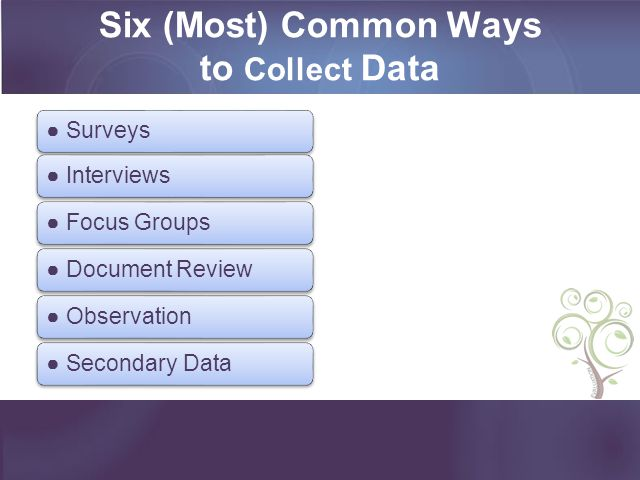 Six (Most) Common Ways to Collect Data
