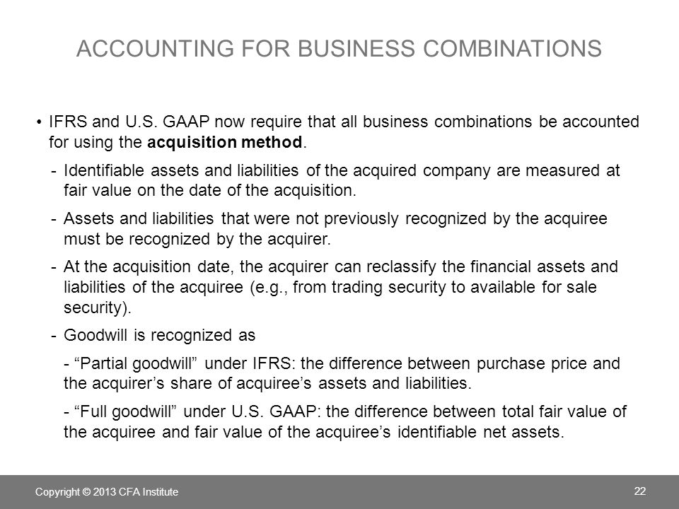 Accounting for business combinations