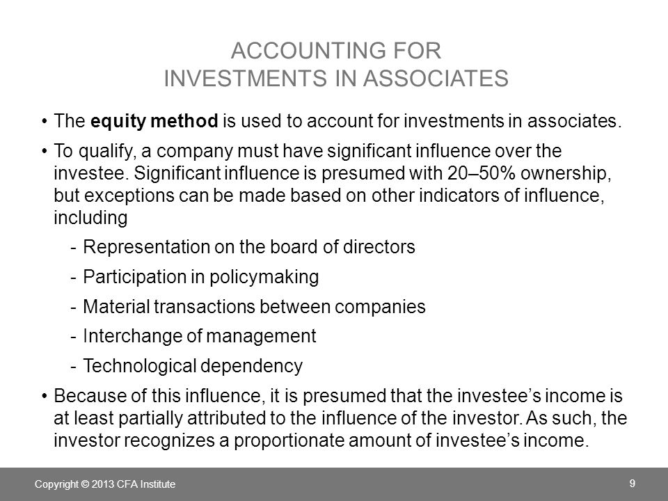 Accounting for Investments in associates