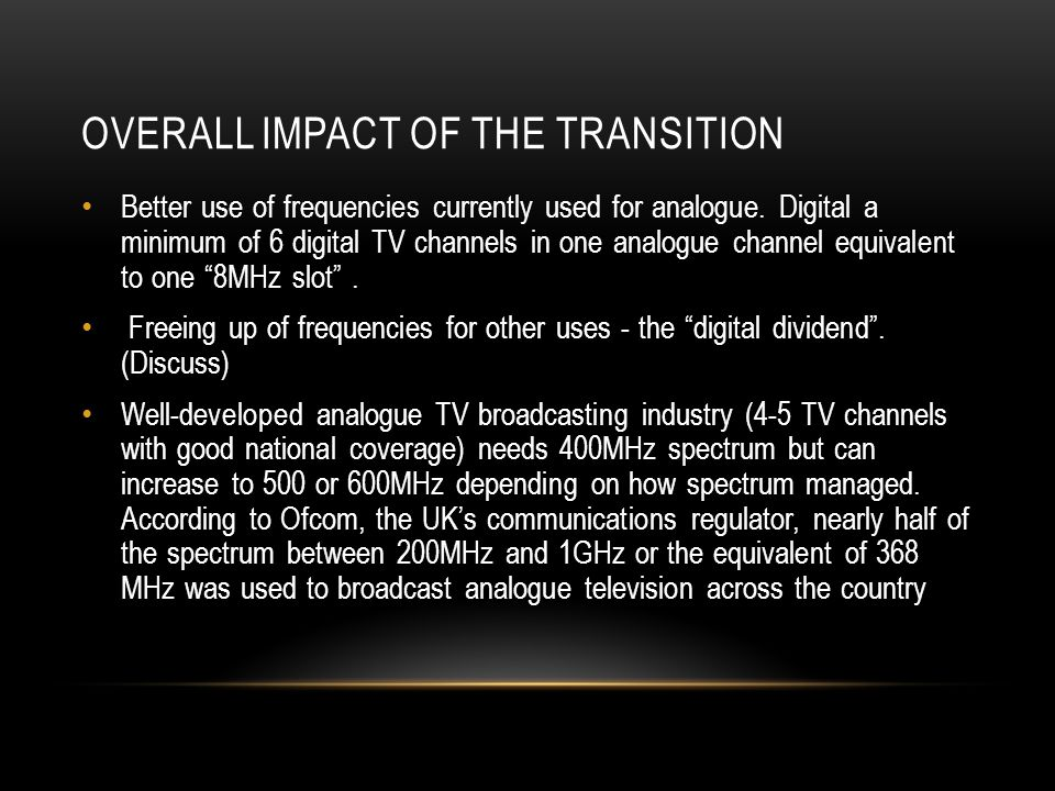 OverAll Impact OF the Transition