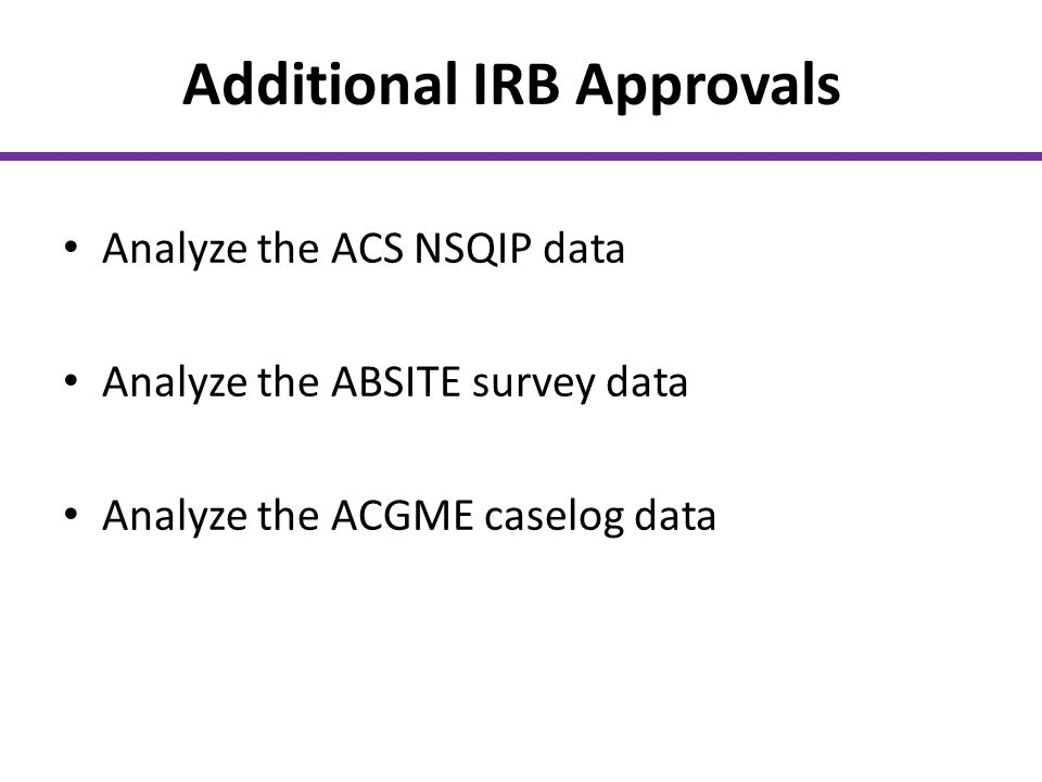 Additional IRB Approvals