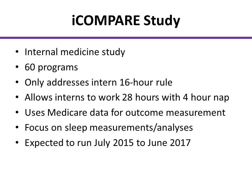 iCOMPARE Study Internal medicine study 60 programs