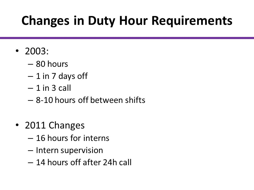 Changes in Duty Hour Requirements