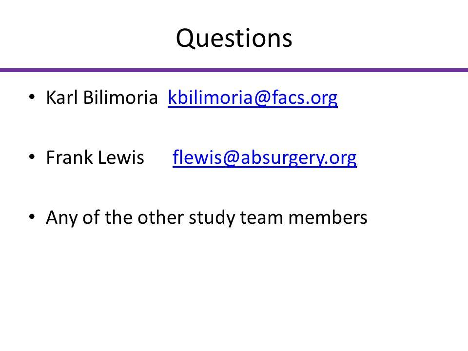 Questions Karl Bilimoria kbilimoria@facs.org