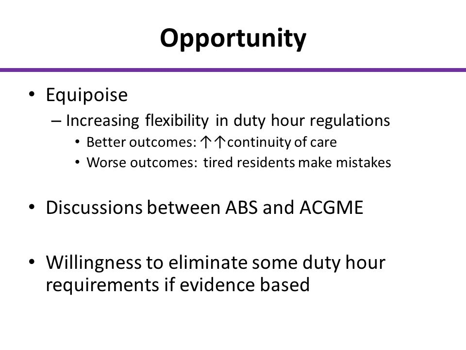 Opportunity Equipoise Discussions between ABS and ACGME