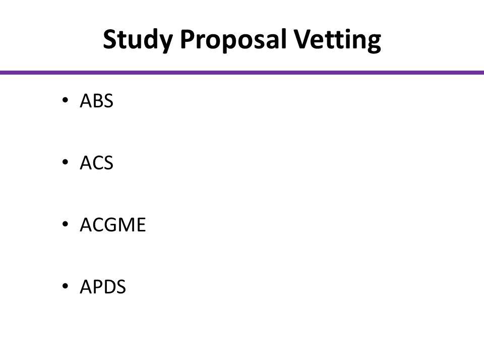 Study Proposal Vetting