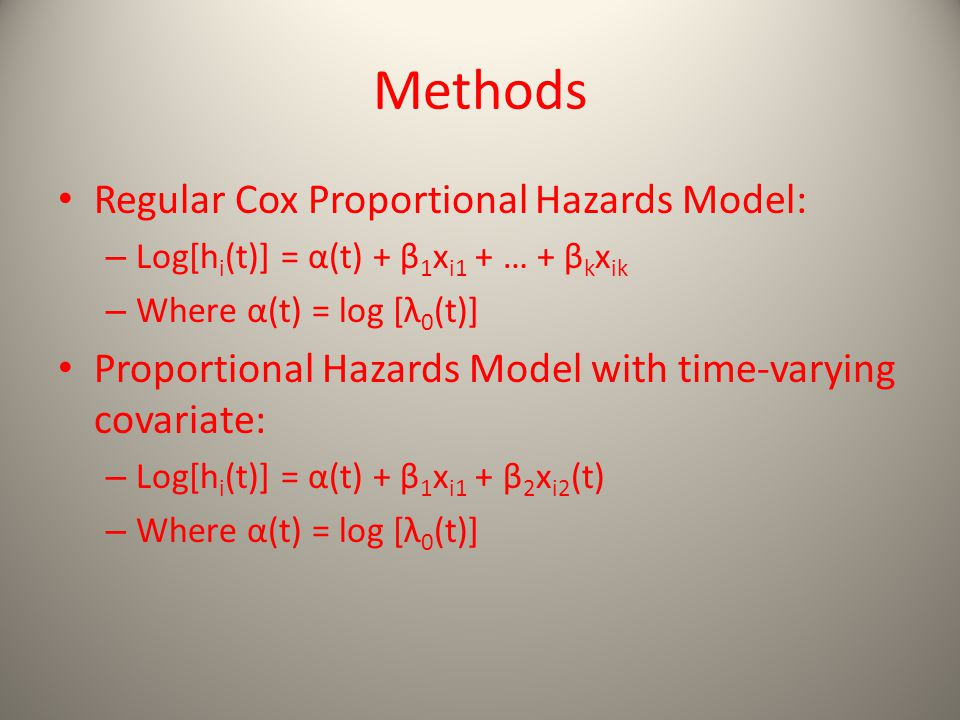 Methods Regular Cox Proportional Hazards Model: