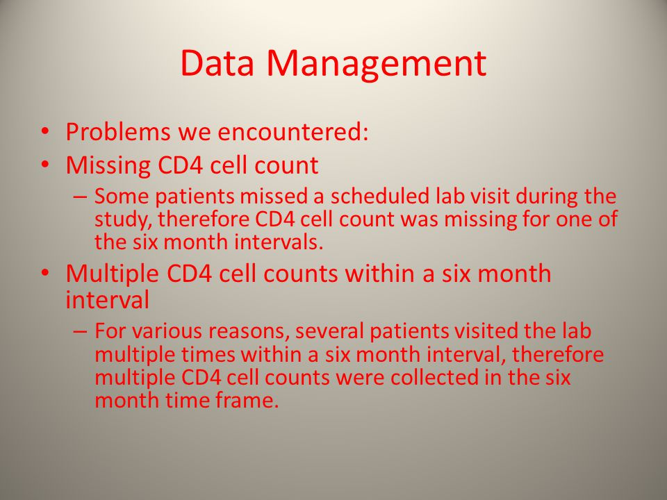 Data Management Problems we encountered: Missing CD4 cell count