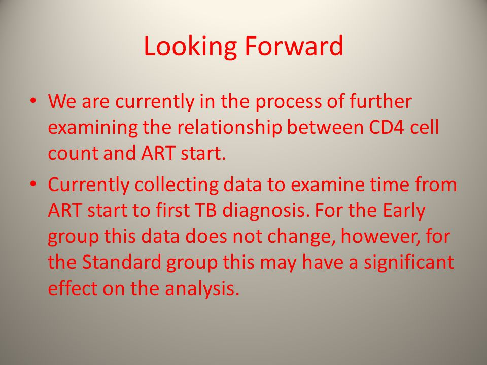 Looking Forward We are currently in the process of further examining the relationship between CD4 cell count and ART start.