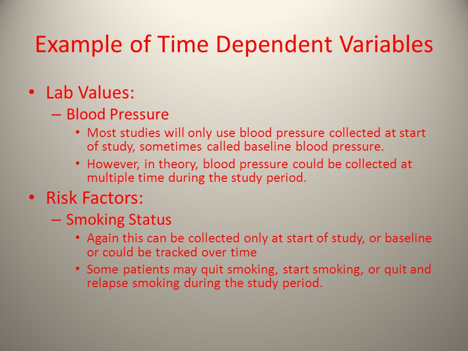 Example of Time Dependent Variables