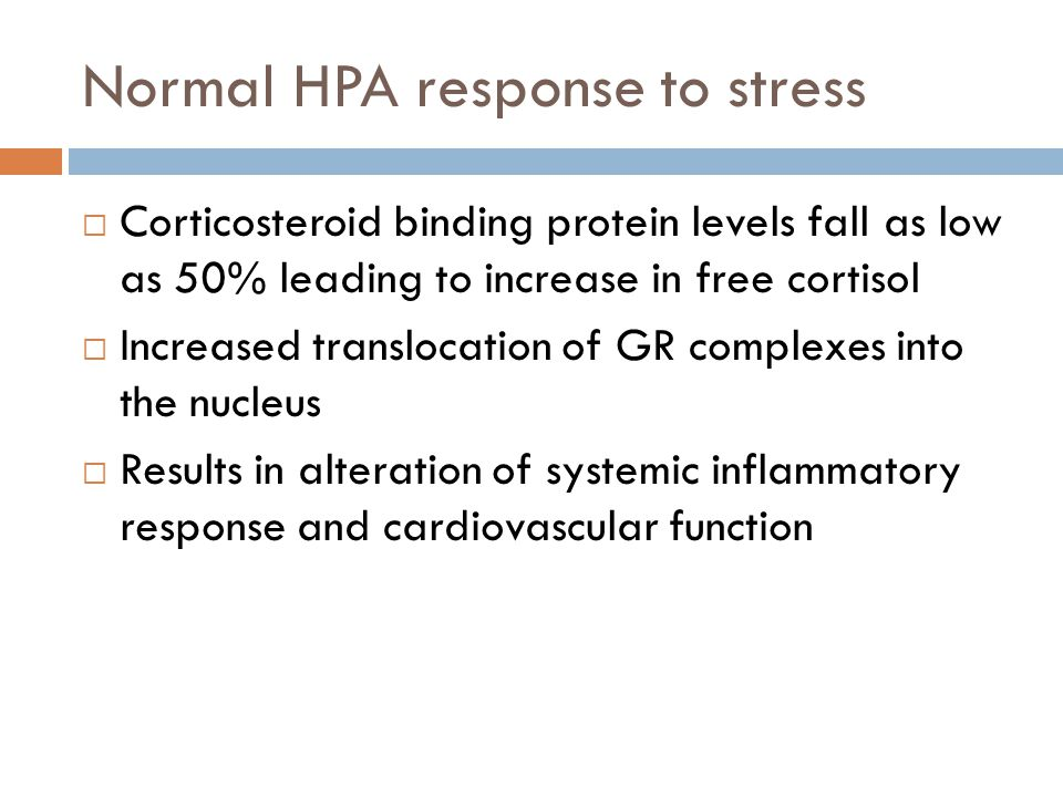 Normal HPA response to stress