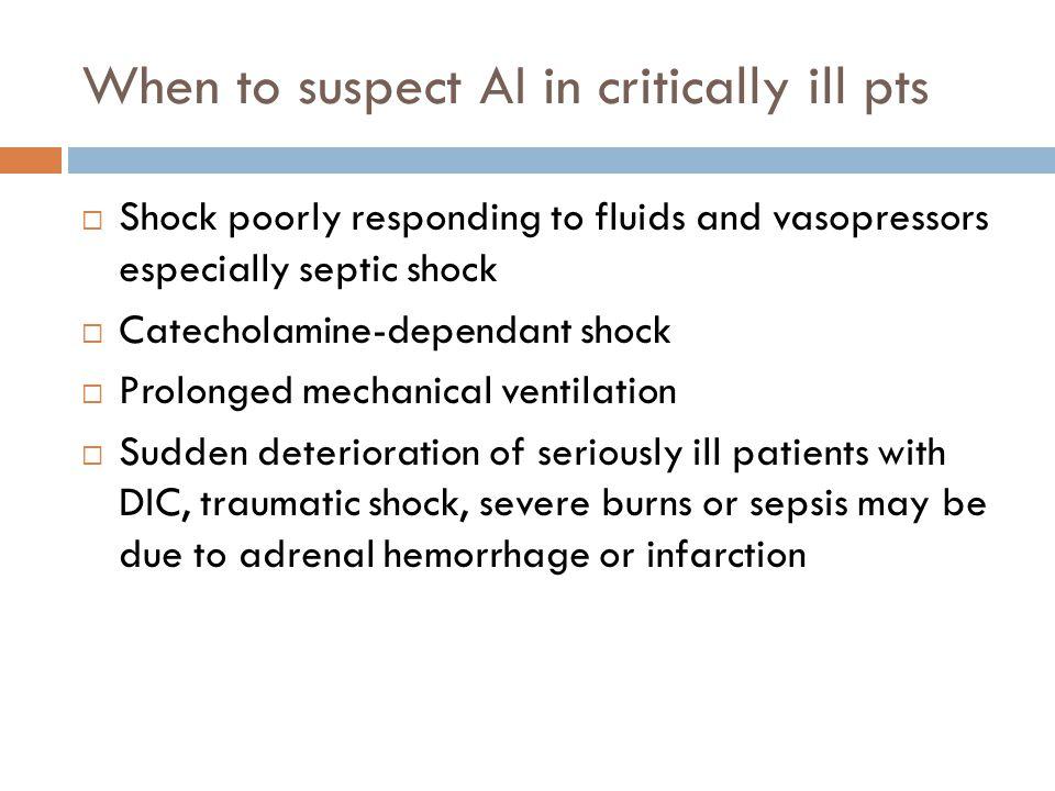 When to suspect AI in critically ill pts
