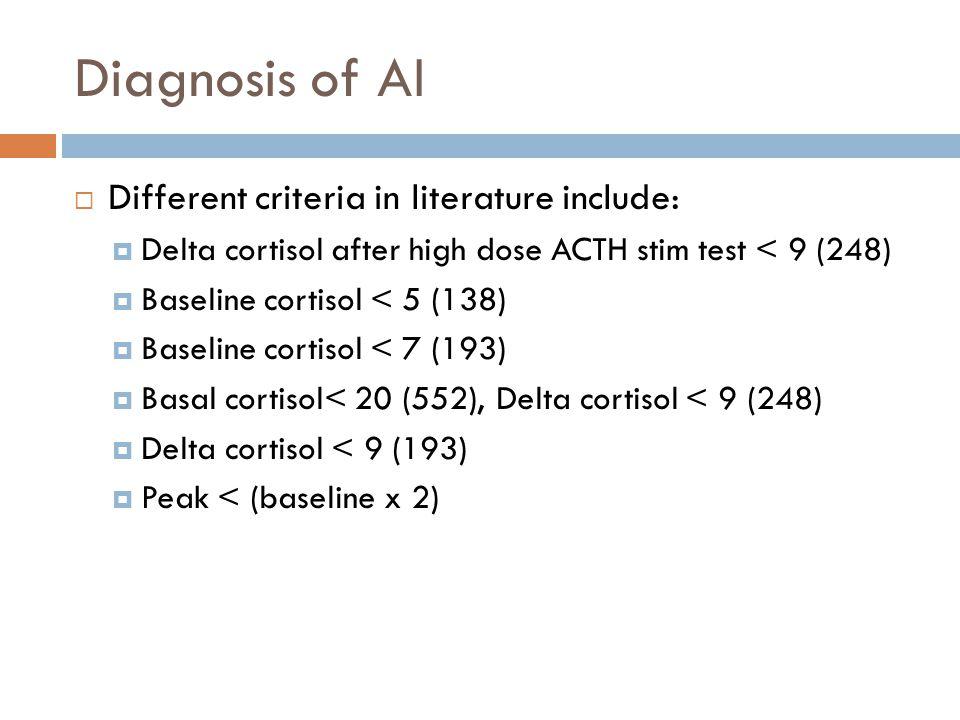 Diagnosis of AI Different criteria in literature include: