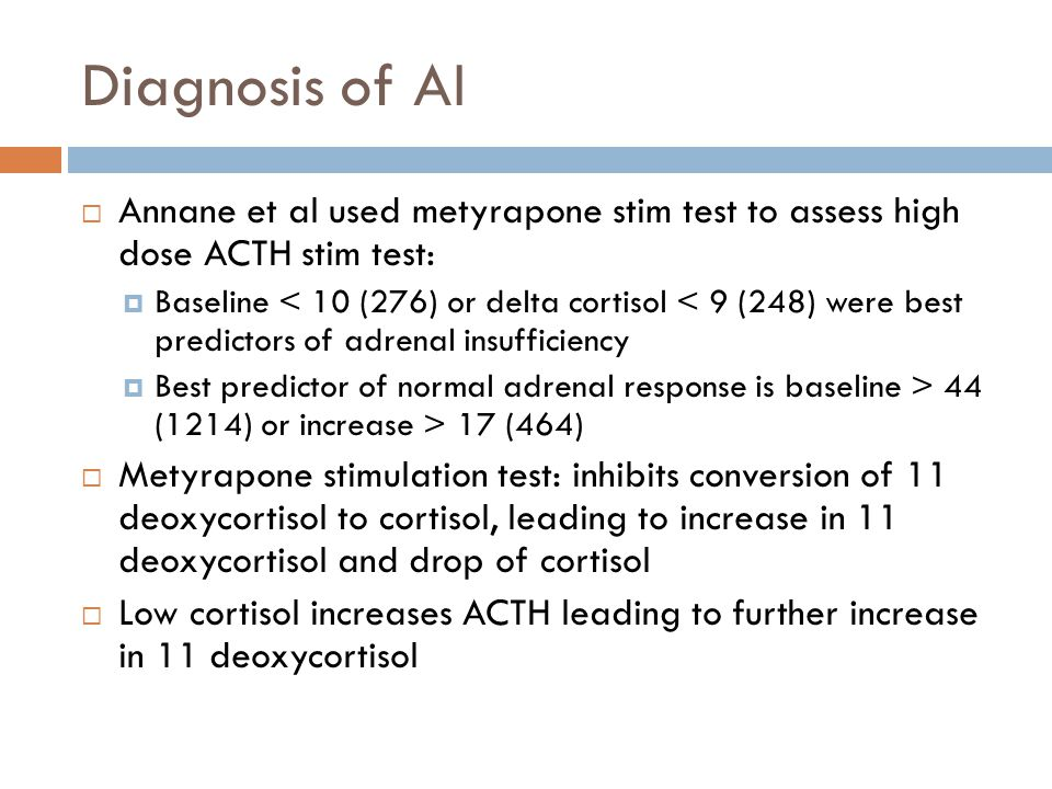 Diagnosis of AI Annane et al used metyrapone stim test to assess high dose ACTH stim test: