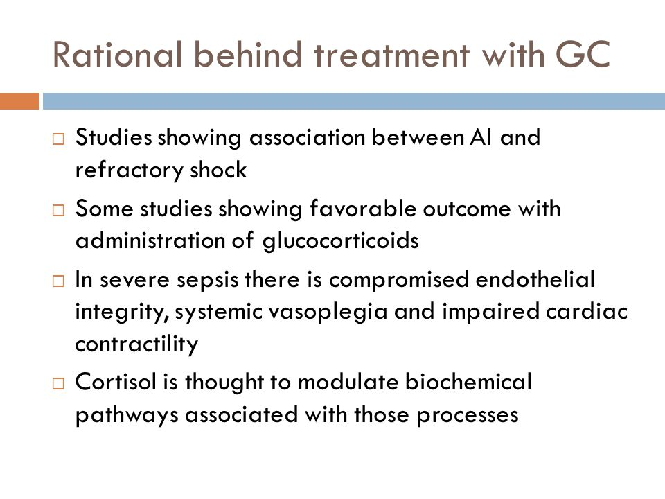 Rational behind treatment with GC