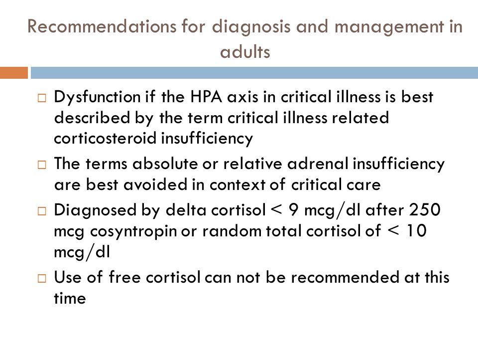 Recommendations for diagnosis and management in adults