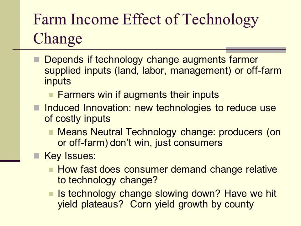 Farm Income Effect of Technology Change