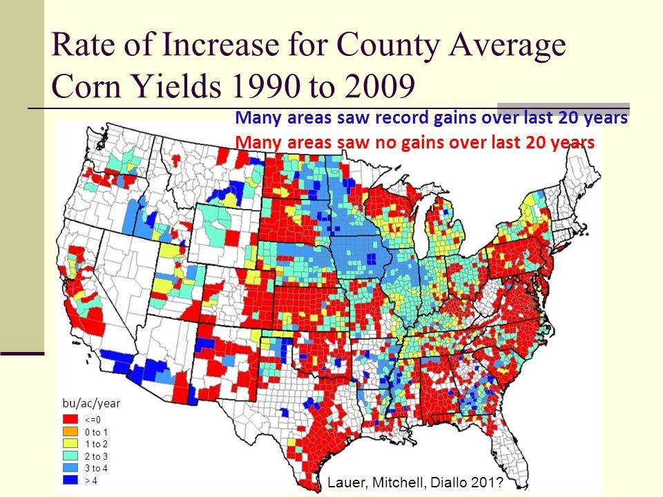 Rate of Increase for County Average Corn Yields 1990 to 2009