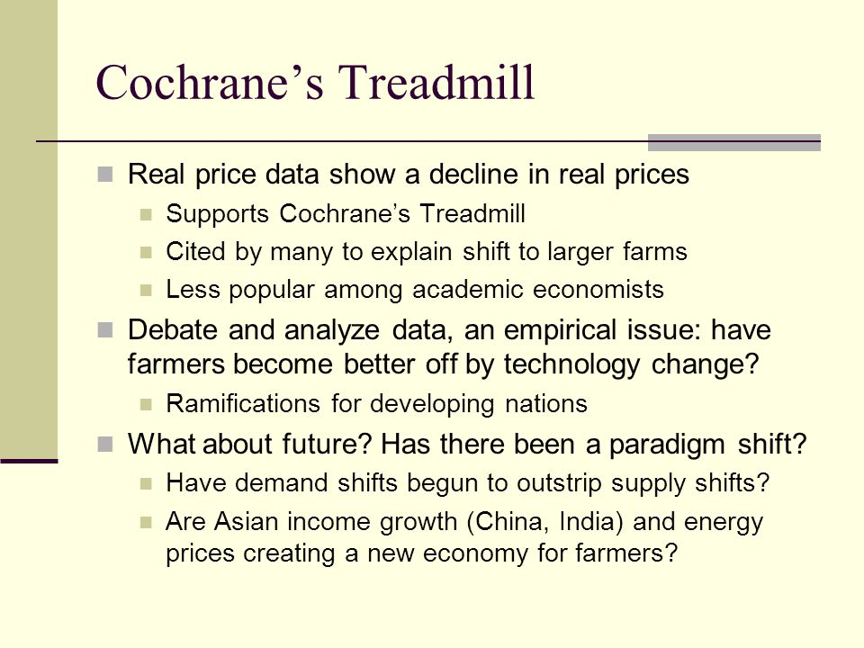 Cochrane's Treadmill Real price data show a decline in real prices