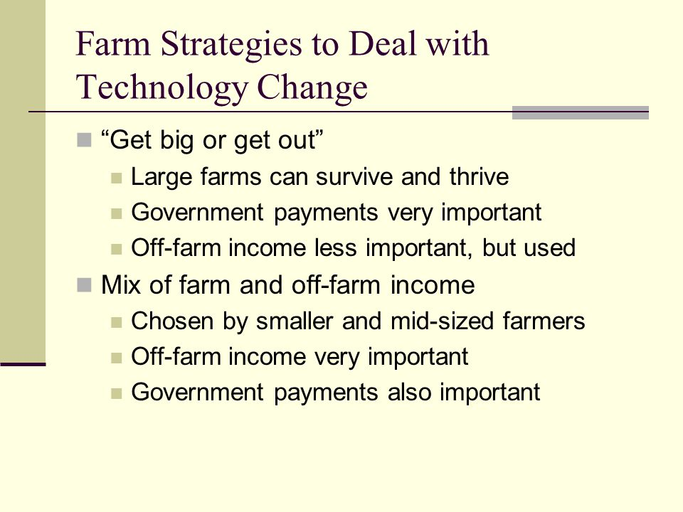 Farm Strategies to Deal with Technology Change