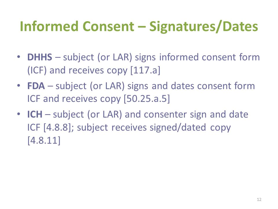 Informed Consent – Signatures/Dates