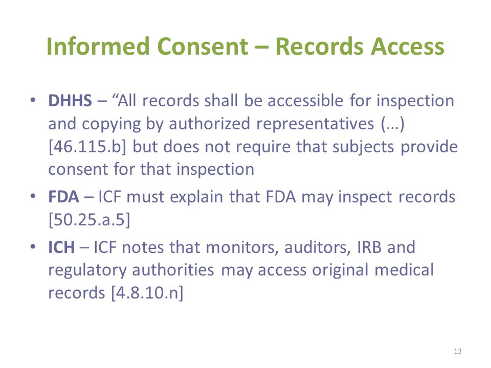 Informed Consent – Records Access