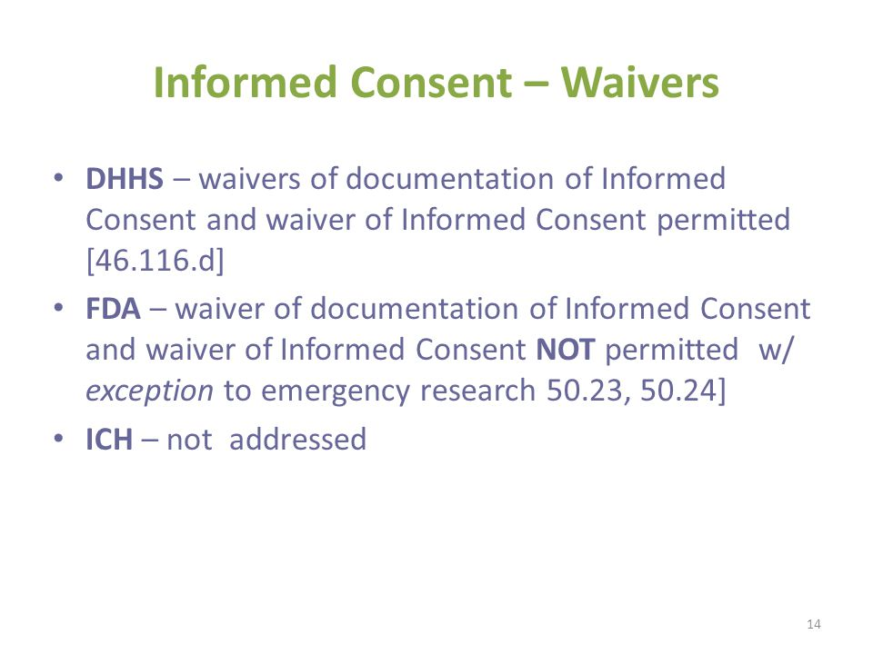 Informed Consent – Waivers