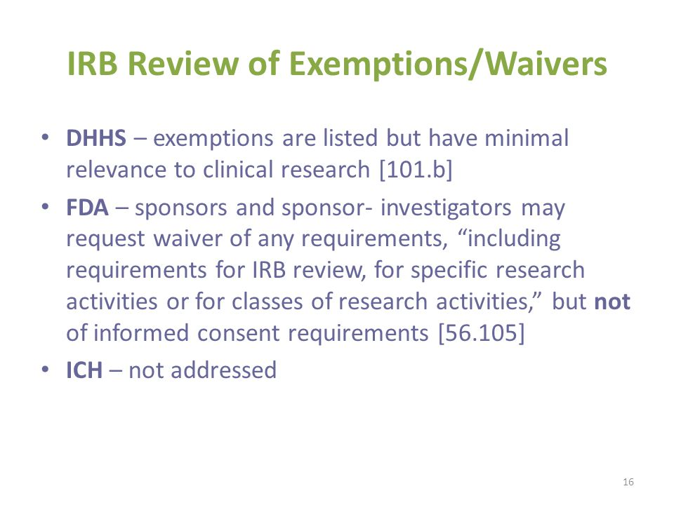 IRB Review of Exemptions/Waivers
