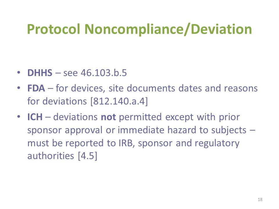 Protocol Noncompliance/Deviation