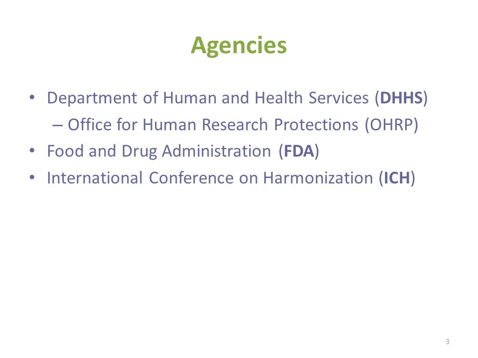 Agencies Department of Human and Health Services (DHHS)