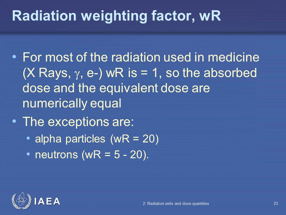 Radiation weighting factor, wR